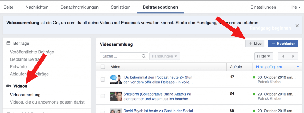 Beitragsoptionen Facebook Videos Live