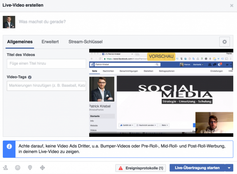 Facebook Live Video mit OBS Desktop übertragung